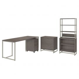 Office by kathy ireland® Method 72W Table Desk with File Cabinets and Bookcase in Cocoa