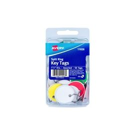 """1-1/4"""" Key Tags, Split Ring, Assorted Colors, 50 Tags (11026)"""