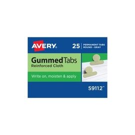 "Gummed Index Tabs, Reinforced Cloth, 1/2"" ext., Gray, 25 Tabs (59112)"