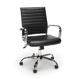Essentials by OFM ESS-6095 Soft Ribbed Bonded Leather Executive Conference Chair, Black