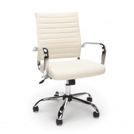 Essentials by OFM ESS-6095 Soft Ribbed Bonded Leather Executive Conference Chair, Ivory