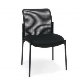 Essentials by OFM ESS-8000 Mesh Back Upholstered Armless Side Chair, Black