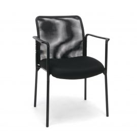 Essentials by OFM ESS-8010 Mesh Back Upholstered Side Chair with Arms, Black