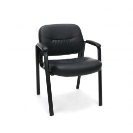 Essentials by OFM ESS-9010 Bonded Leather Executive Side Chair, Black