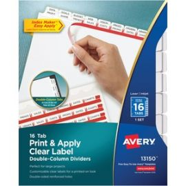 Index Maker Print & Apply Clear Label Double Column Dividers
