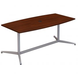 72W x 36D Boat Shaped Conference Table with Metal Base