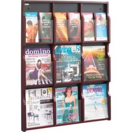 9 Magazine/18 Pamphlet Wood Literature Rack