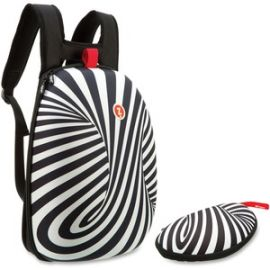 Black/White Swirls Shell Backpack Set