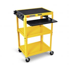 Luxor Adjustable Height Yellow Metal A V Cart with Pullout Keyboard Tray