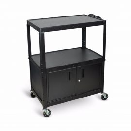 Luxor Extra Wide Steel Adjustable Height A V Cart with Cabinet