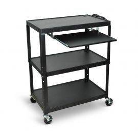 Luxor Extra Wide Steel Adjustable Height A V Cart withPullout Keyboard Shelf
