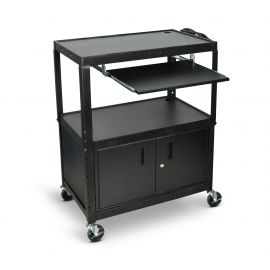 Luxor Extra Wide Adjustable Height A V Cart with Keyboard Shelf & Cabinet