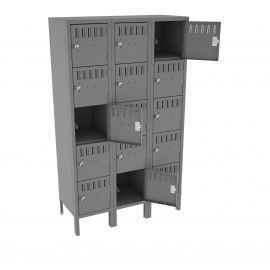 "15"" Deep Assembled 5-Box Locker - 3 Wide with Legs"