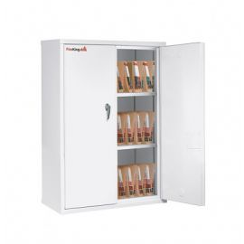 Fireking Cabinet CF4436 MDAW LGL Fire Resistant Double door storage cabinet with end tab inserts 44 Arctic White