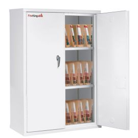 Fireking Fireproof Fire Resistant Double door storage cabinet with end tab inserts Arctic White