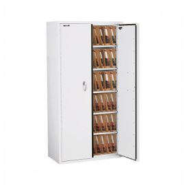 Fireking CF7236 MDAW LGL Fire Resistant Double door storage cabinet with end tab inserts 72 Arctic White
