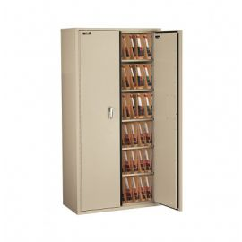Fireking CF7236 MDPA LGL Fire Resistant Double door storage cabinet with end tab inserts 72 Parchment