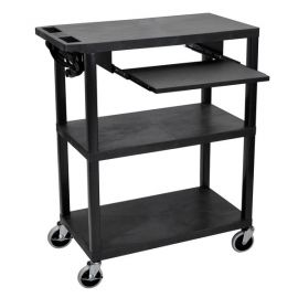 Luxor 3 Flat Shelves with Pullout Shelf & Electric Black Presentation Station