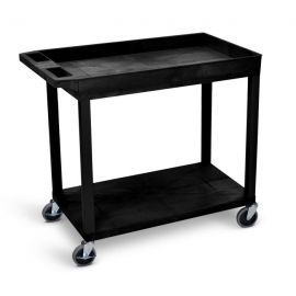 Luxor Black EC12 18x32 Cart 1 Tub  1 Flat Shelf