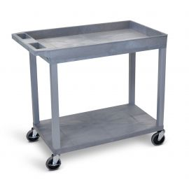Luxor Gray EC12 18x32 Cart 1 Tub  1 Flat Shelf