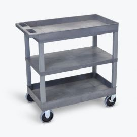Luxor Gray EC121HD 18x32 Cart with 2 Tub Shelves and 1 Flat Shelf