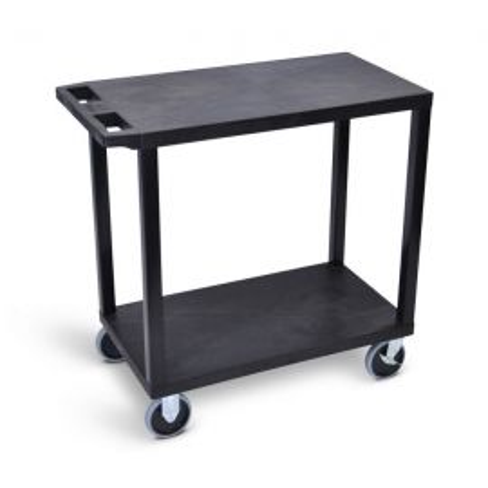 Luxor Black EC22HD-B 18x32 Cart with 2 Flat Shelves