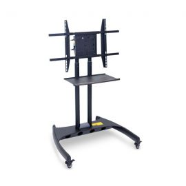 Luxor Adjustable Height Flat Panel Cart with Accessory Shelf and 90 Degree Rotating Mount