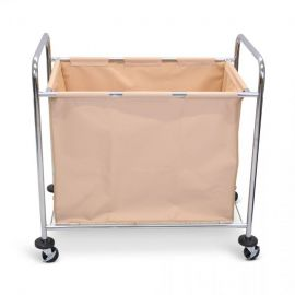 Luxor Laundry Cart with Steel Frame & Tan Canvas Bag