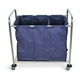 Luxor Industrial Laundry Cart with Steel Frame & Navy Canvas Bag with Dividers