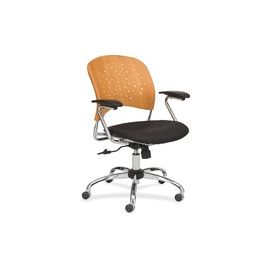 Safco Reve Task Chair Round Plastic Wood Back