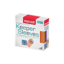 Maxell CD/DVD Keeper Sleeves - Color (25 Pack)