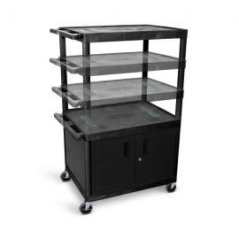 Luxor Black Endura Multi-Height 3 Shelf A V Cart with Cabinet