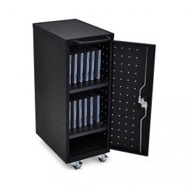 Luxor Black 12 Chromebook Charging Cart Includes Electrical Outlets