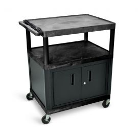 Luxor Endura Black 3 Shelf Presentation Cart with Cabinet 40 1 4in H