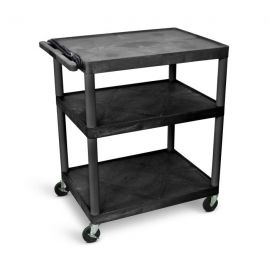 Luxor Endura Black 3 Shelf Presentation Cart 40 1 4in H