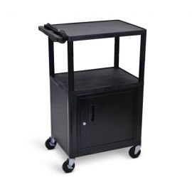 Luxor Endura Black 3 Shelf  Presentation Cart W Cabinet 42in H