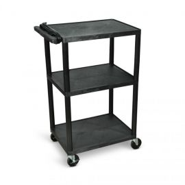 Luxor Endura Black 3 Shelf Presentation Cart 42inH