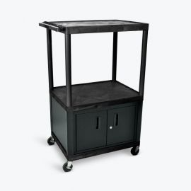 Luxor Black Endura 3 Shelf Presentation Cart with Cabinet 54 1 4in H