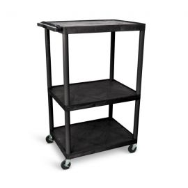 Luxor Black Endura 3 Shelf Presentation Cart 54 1 4in H