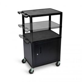 Luxor Black Endura Presentation Cart Multi Height with Cabinet