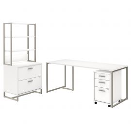 72W Table Desk with File Cabinets and Hutch