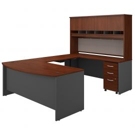 72W U Shaped Desk with Height Adjustable Bridge, Hutch and Storage