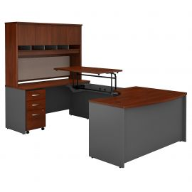60W x 43D Left Hand 3 Position Sit to Stand U Shaped Desk with Hutch and Mobile File Cabinet