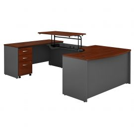 60W x 43D Left Hand 3 Position Sit to Stand U Shaped Desk with Mobile File Cabinet