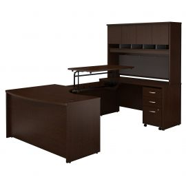 60W x 43D Right Hand 3 Position Sit to Stand U Shaped Desk with Hutch and Mobile File Cabinet