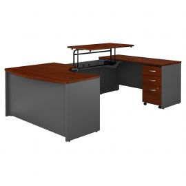 60W x 43D Right Hand 3 Position Sit to Stand U Shaped Desk with Mobile File Cabinet