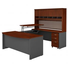 72W x 36D 3 Position Sit to Stand Bow Front U Shaped Desk with Hutch and Mobile File Cabinet