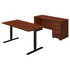 60W Height Adjustable Standing Desk with Credenza and Storage