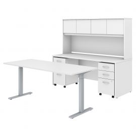 72W x 30D Height Adjustable Standing Desk, Credenza with Hutch and Mobile File Cabinets
