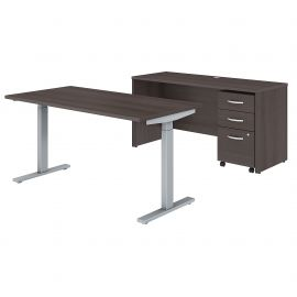 60W x 30D Height Adjustable Standing Desk, Credenza and Mobile File Cabinet